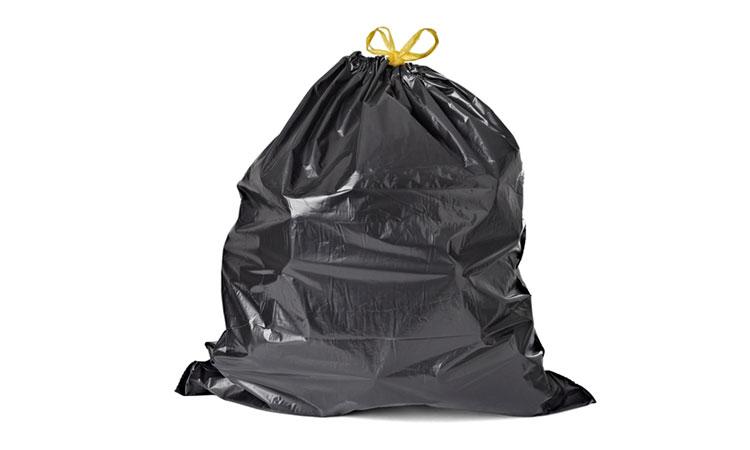 E800 Orta Boy Siyah Büzgülü Çöp Torbası