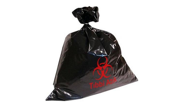 E 3007 Büyük Boy Siyah Tıbbi Atık Baskılı Çöp Torbası